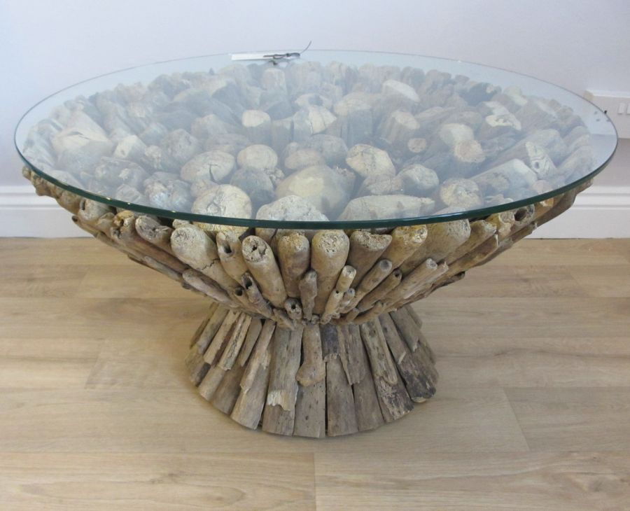 Round Driftwood Coffee Table