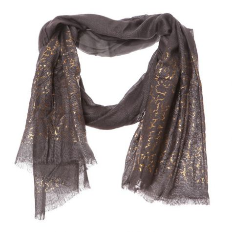 Dark Grey and Gold Foil Edge Scarf
