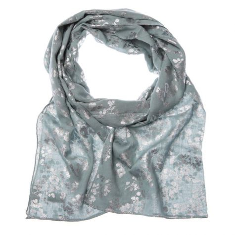 Pale Blue Scarf with Silver Metallic Leaf