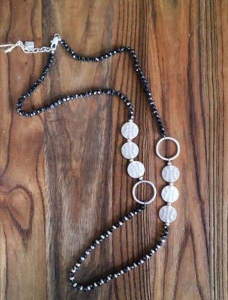 Long Glass Bead and Ring Necklace