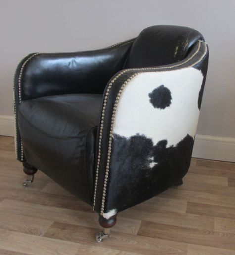 Black And White Cow Hide Leather Chair