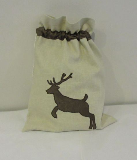 Cream Reindeer Christmas Sack