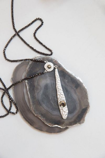 Silver Teardrop and Black Glass Bead Necklace