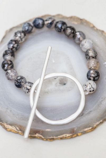 Grey Agate T-bar Bracelet