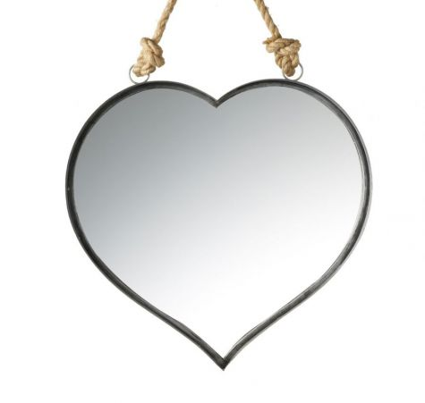 Heart Mirror with Rope Handle