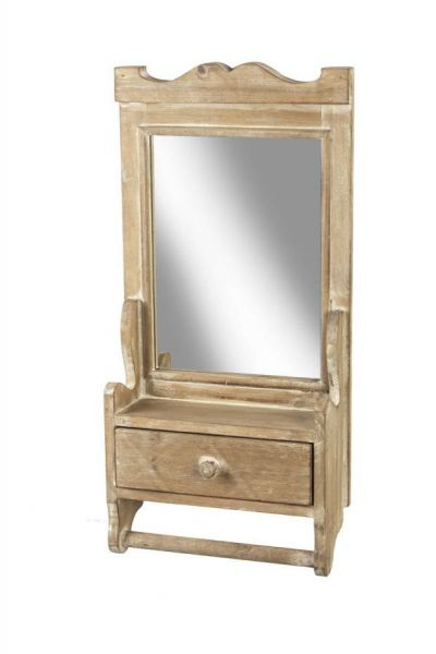 Wood Mirror with Drawer