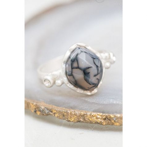 Cracked Agate and Crystal Ring
