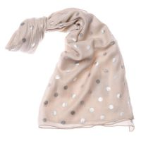 Cream Scarf with Metallic Polka Dot
