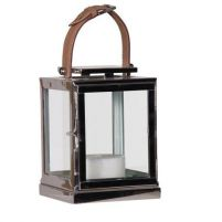 Nickel Lantern with Tan Leather Buckle Handle