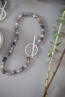 Grey Agate T-bar Necklace
