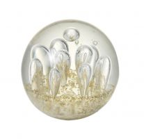 Glass Paperweight with Bubbles and Gold Specks