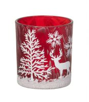 Red Tealight Holder with White Scene