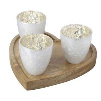 White and Gold Tealight Holders on Wood Heart